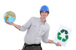 craftsman holding a recycling label and a globe