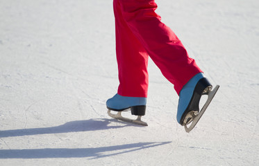 Woman ice skating outdoors