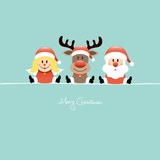Sitting Angel, Rudolph & Santa Retro