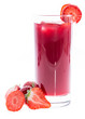 Glass with Strawberry Liqueur on white