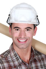 Closeup of a man in a hardhat