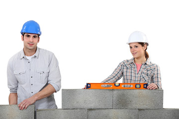 A team of bricklayers