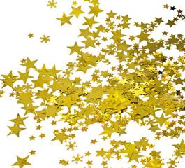 Frohe Weihnachten: Goldsternchen vor weißem Hintergrund
