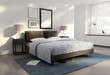 Contemporary elegant, white shiny atmospheric bedroom - 46451123