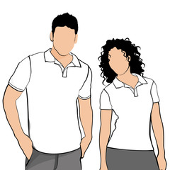 T-shirts. Body silhouette men and women