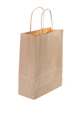Single brown paper shopping bag
