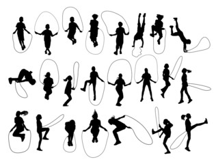 Vector set of children playing with a jumping rope