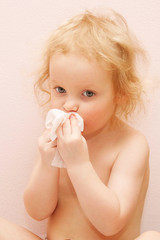 baby is sick, has fever and runny nose,