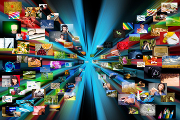 Multimedia background. Composed of many images