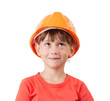 Girl in a protective helmet looking up