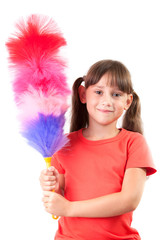 Little girl with a broom to clean the dust