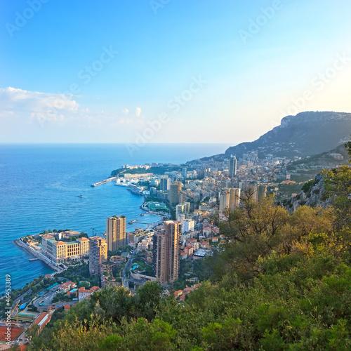Monaco Montecarlo principality aerial view cityscape sunset. Azu