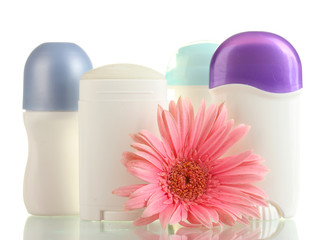deodorant and flower isolated on white