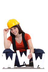 Construction worker with the letters WWW