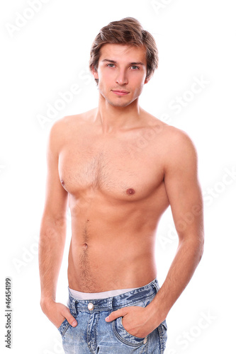 Handsome and sexy young man with naked torso isolated