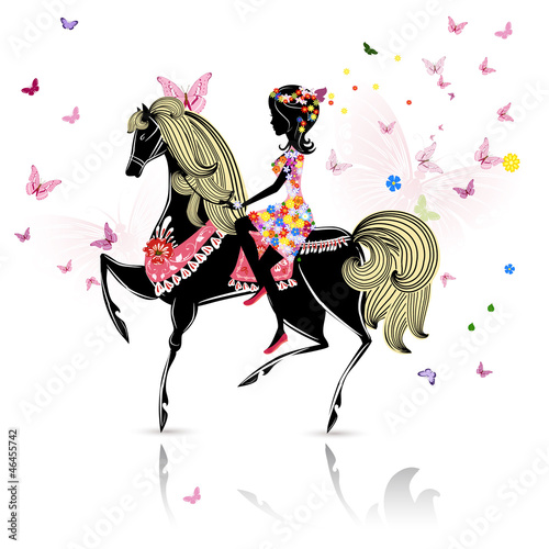 Foto op Canvas Bloemen vrouw Beautiful Girl riding a horse