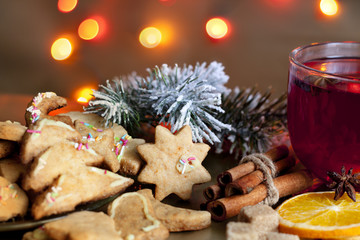 Christmas homemade cookies with punch and spices