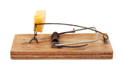 Kitted mousetrap isolated on white