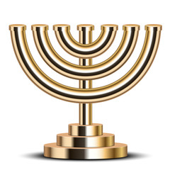 Vector illustration of gold menorah (emblem of Israel)