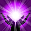 Vector purple background with hands