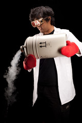 Scientist pouring liquid nitrogen