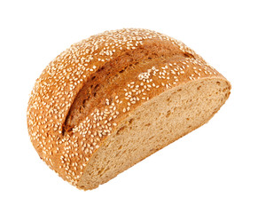 A loaf of homemade bread with sesame seeds
