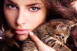 young beauty with kitten