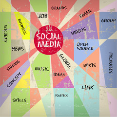 Social media and network illustration, vintage and grungy