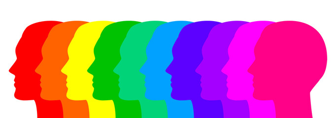 Vector illustration of colorful faces