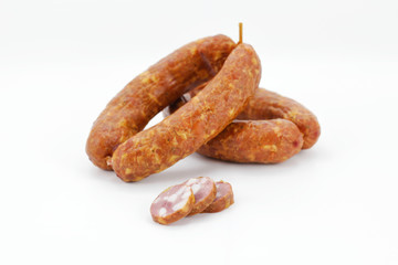 Sausages from Slovenia, cut on white background isolated