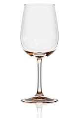 Empty bordeaux glass isolated on white