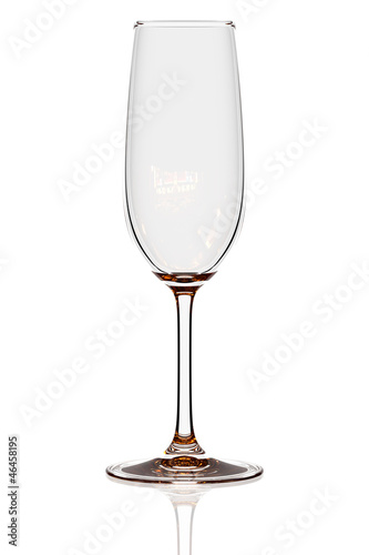 Empty flute glass isolated on white