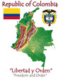 Colombia America national emblem map symbol motto