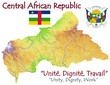 Central Africa national emblem map symbol motto