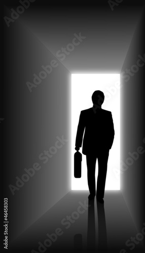 Businessmen walking into office . vector file