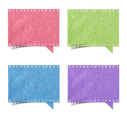 blank film strip speech bubbles recycled paper craft stick on wh
