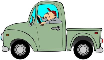 Man driving an old green truck