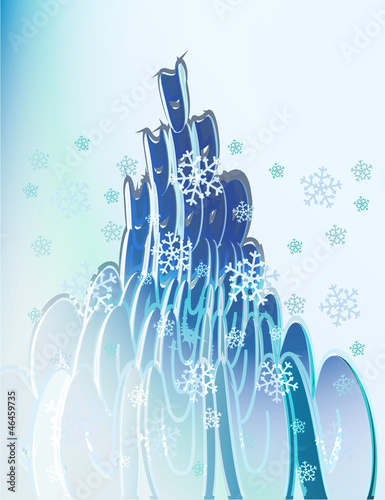 blue elliptic shapes with falling snow card vector template