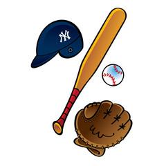 Baseball set - bat helmet ball pitch glove