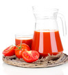 Tomato juice in pitcher and glass