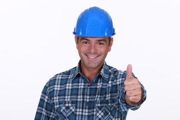 Thumbs up from a construction worker