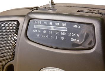 Closeup on a Portable FM-AM Radio