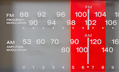Closeup on a Radio FM-AM Tuner