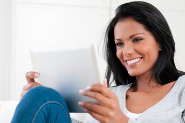 Girl enjoy modern tablet