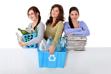 three girlfriends waste sorting