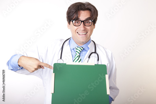 Young doctor with green board
