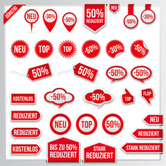 Vector red price tags, labels, stickers, arrows and ribbons