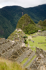 View over the upper part of the Machu Picchu ruins