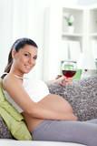 pregnant woman drinking wine - Fine Art prints