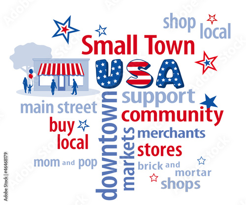 Small Town USA word cloud, shop local stores, red, white, blue